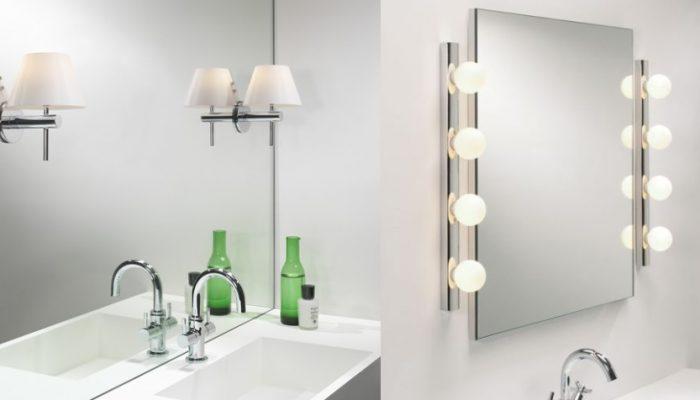 montaż kinkiety bezpośrednio na tafli lustra w łazience